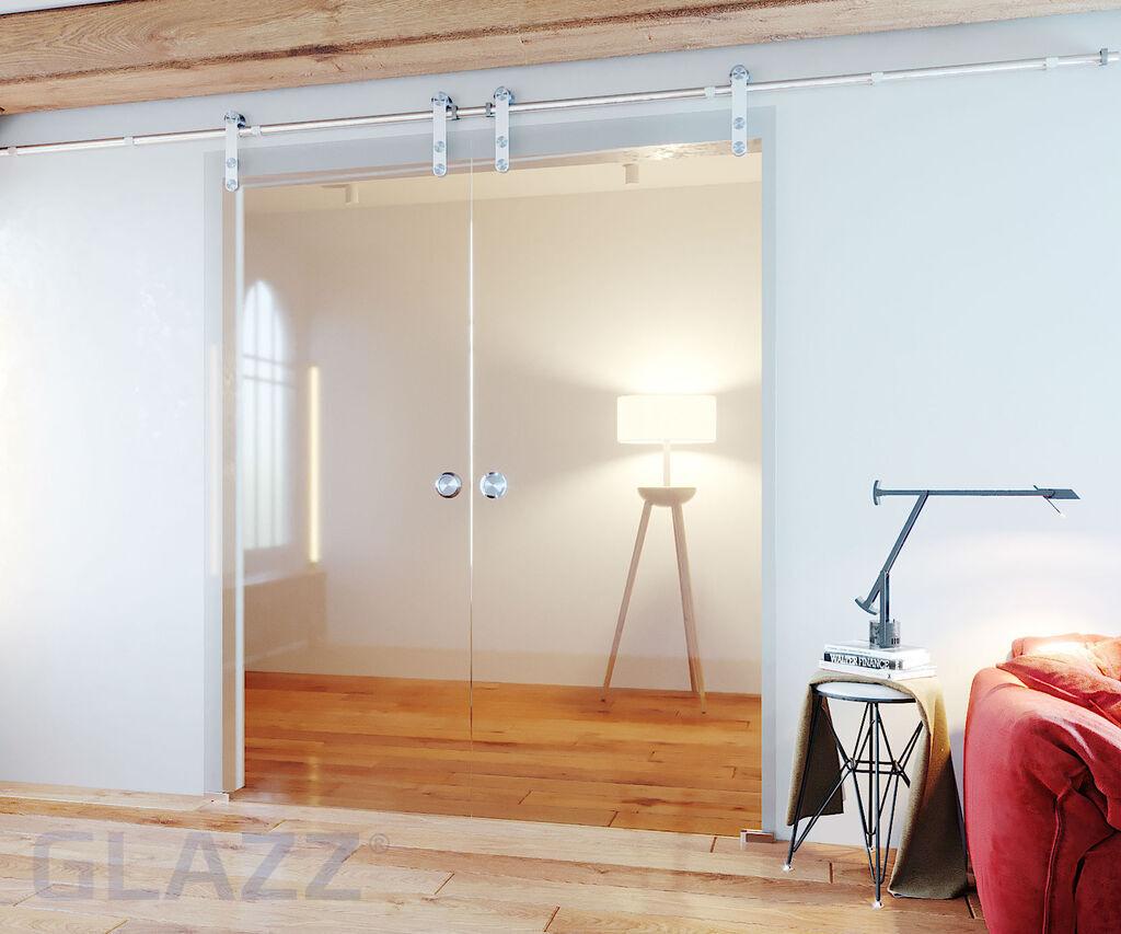 Glazen schuifdeur en suite (open rvs rail) | glazz.nl