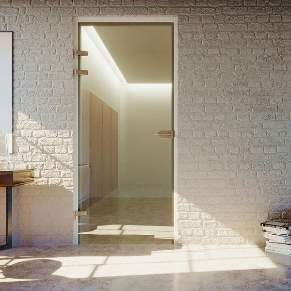 Glazen deur op 3 bestaande scharnieren vierkant