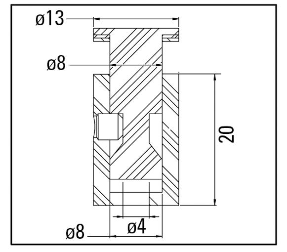 Technische tekening rvs afstandhouder