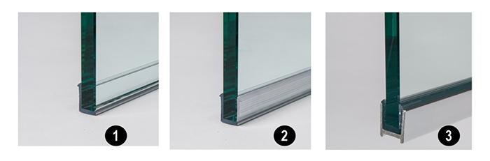 Glasprofielen RVS, uitsnede
